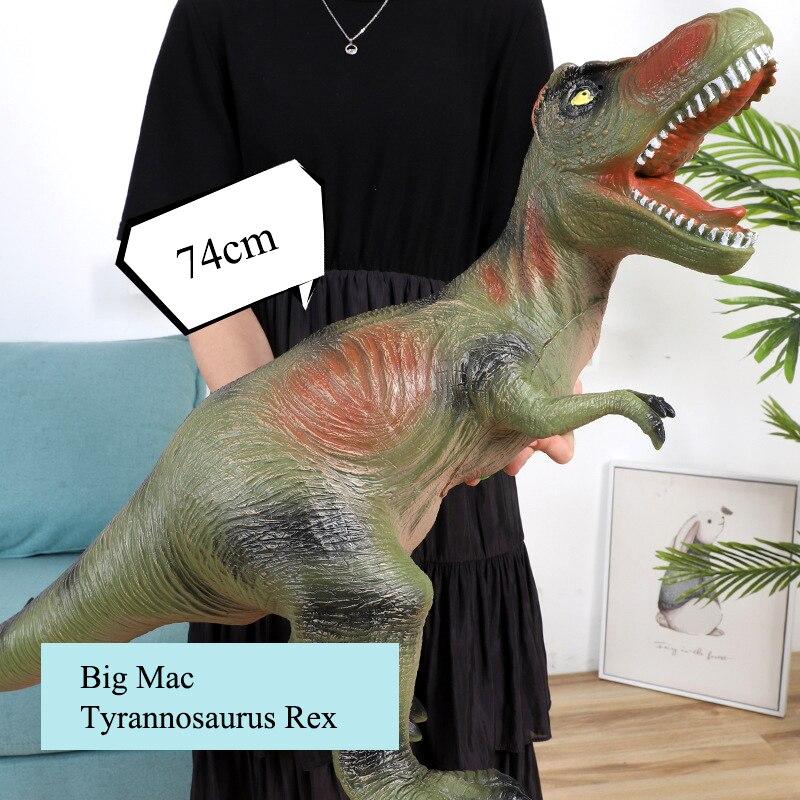 74cm Large Dinosaur Model Shark Plastic Washable Muppet Tyrannosaurus Rex Raptor World Park Dinosaur Model Children New Year Toy